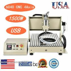 USB 4 Axis 6040 CNC 1.5KW Router Engraver Milling Driiling Machine Spindle ER11