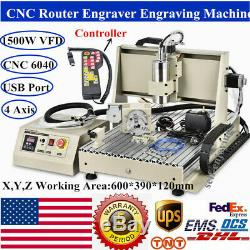 USB 4 Axis 6040 CNC Router Engraver 1500W VFD+Spindle Milling Machine+Handwheel