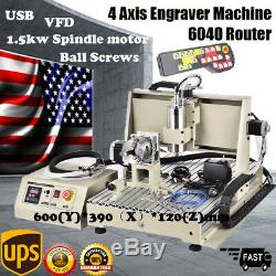USB 4 Axis 6040 CNC Router Engraver Engraving Milling Machine 1500W VFD 3D Cutt