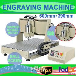 USB 4 Axis 6040 CNC Router Engraver Milling Carving Engraving Machine +1.5KW VFD