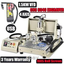 USB 4 Axis 6040Z CNC Router Engraver Drilling Milling Machine +Handwheel 1500W