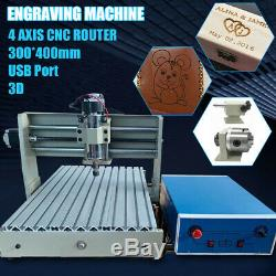 USB 4 Axis CNC 3040 Router Engraver 3D Wood Carver Drilling Milling Machine 400W