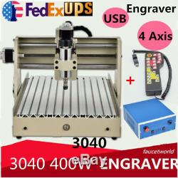 USB 4 Axis Engraver Wood Engraving 3040 Router Milling drill Cutter+Controller