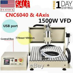 USB 4AXIS CNC 6040Z Router Engraver Engraving 1.5KW Wood Drill Milling Machine