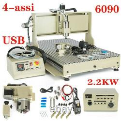 USB 4Axis 6090 CNC Router Engraver 2.2KW + VFD Spindle Milling Machine Engraving
