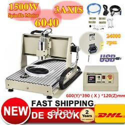 USB 6040 3 Axis CNC Router Engraver 1500W Drilling Milling Machine 3D 220V EU