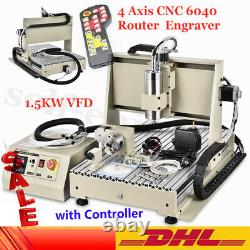 USB 6040 4Axis CNC Router Engraver VFD Drilling Milling Machine+Controller 1.5KW