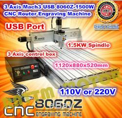 USB Mach3 8060 1.5KW 1500W 3 Axis Engraving Milling Drilling Machine CNC Router
