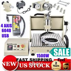 USB/Parallel 3/4 Axis 1500W 6040 CNC Router Engraver Machine Milling + Handwheel