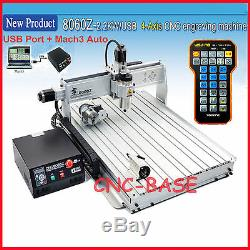 USB four 4axis 8060 2.2KW cnc router engraver engraving milling carving machine