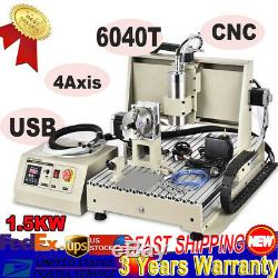 USED USB 4Axis CNC 6040 Router Engraver Milling Machine 1.5KW VFD Spindle Motor