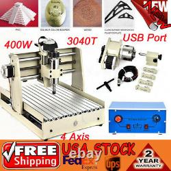Usb 4axis Cnc 3040 Router Engraving Machine MILL Drill 3d Carver Woodworking Kit