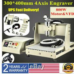 VFD 4Axis 3040 CNC Router Engraver Metal Milling Drilling Machine 800W 3D Cutter